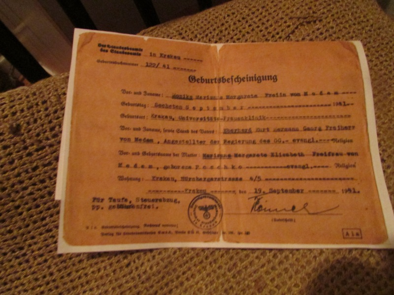My mothers' birth certificate, Cracow, Poland, 1941